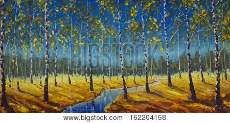 Original oil painting of River in a birch grove on canvas. Modern Impressionism Art. Artwork.