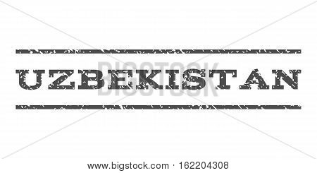 Uzbekistan watermark stamp. Text caption between horizontal parallel lines with grunge design style. Rubber seal stamp with scratched texture. Vector gray color ink imprint on a white background.