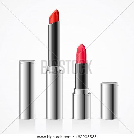 Realistic Lipstick in Silver Metal Tube Set Luxury Style. Decorative Professional Cosmetic for Woman. Vector illustration