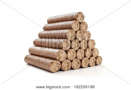 Stack wooden briquettes on white background -Clipping Path