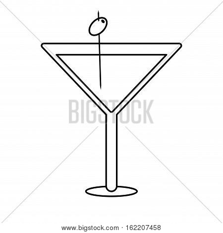 glass cocktail martini with olive outline drink vector illustration eps 10