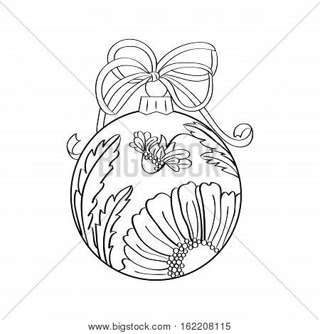 Vector christmas ball with summer ornament inside - camomile. Coloring page for adult. Zentangle element for design. Xmas and new year holiday theme