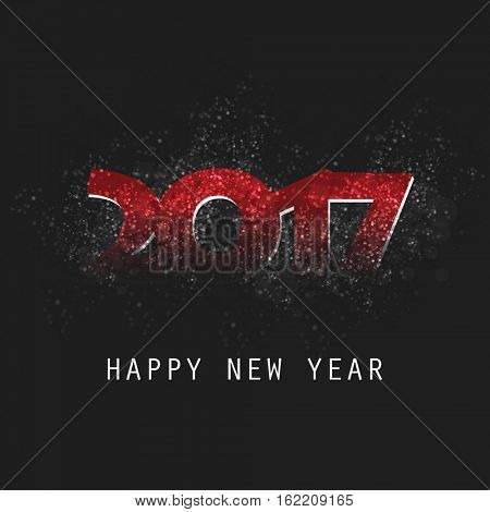 Sparkling Red and Black New Year Card, Cover or Flyer Design Background - 2017