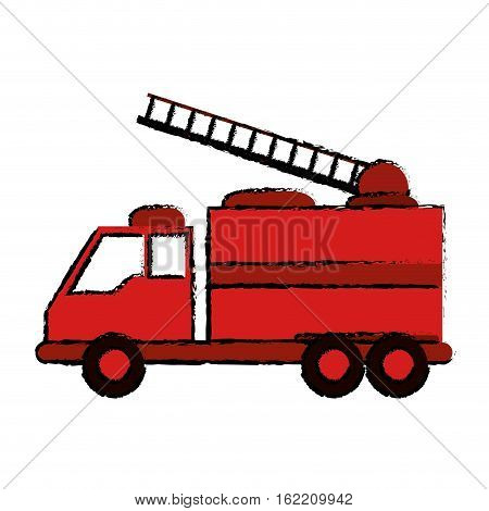drawing truck fire rescue urgency attention vector illustration eps 10