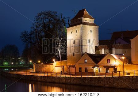Iron Maiden Tower On The Bank Of Moldau River.