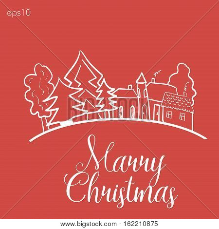 Home before Christmas Abstract design author sign postcard landscape trees primitive style roof window building manor line white graphics text eps10 vector illustration Stock