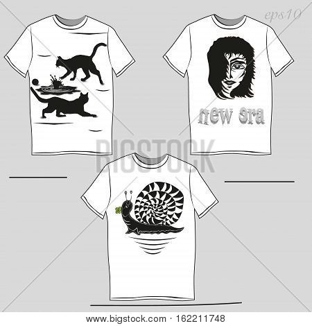 White T-shirt with a black pattern Unisex Clothing author design summer demi advertising snail puddle cat print head man Banner text eps10 vector illustration Stock