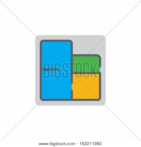 Vector icon or illustration showing appartament or house blue print with room plan in material design style
