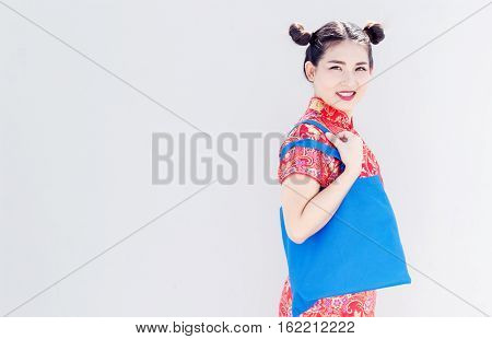 Asian Chinese Girl Shopping On Background