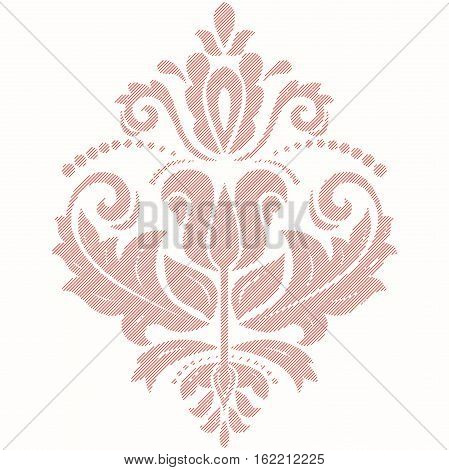 Elegant ornament in the style of barogue. Abstract traditional pattern with oriental elements. Pink pattern with diagonal lines