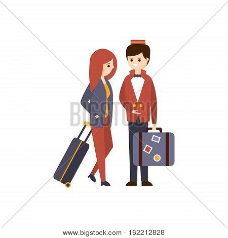 Bellhop Helping A Female Guest With Luggage Hotel Themed Primitive Cartoon Illustration. Part Of Inn Clients And Employees Collection Of Situations Vector Flat Drawings.
