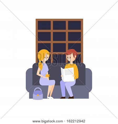 Two Tourists In Lobby Reading Newspapers And Drinking Coffee Hotel Themed Primitive Cartoon Illustration. Part Of Inn Clients And Employees Collection Of Situations Vector Flat Drawings.