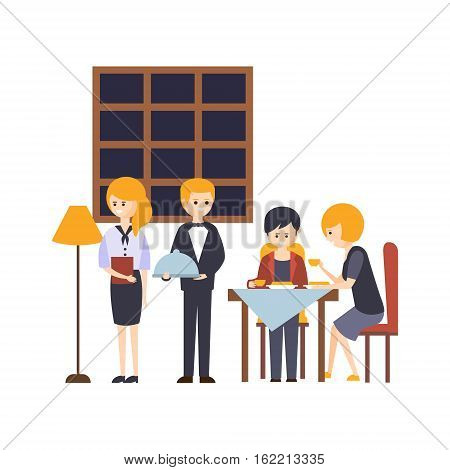 People Having Meal At The Restaurant With Waiter And Administrator Beside Hotel Themed Primitive Cartoon Illustration. Part Of Inn Clients And Employees Collection Of Situations Vector Flat Drawings.