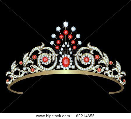 Diadem with diamonds and rubies on black background