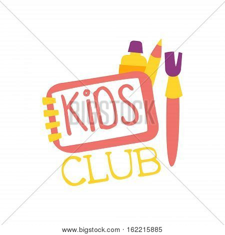Kids Land Playground And Entertainment Club Colorful Promo Sign With Art Tools For The Playing Space For Children. Vector Template Promotional Logo For The Entertaining Family Center.