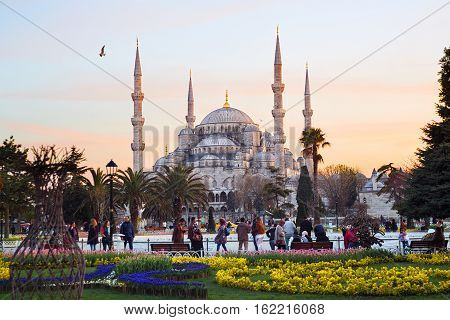 ISTANBUL - APRIL 16 2015: Blue Mosque Sultanahmet Camii in Istanbul Turkey in the sunset hour