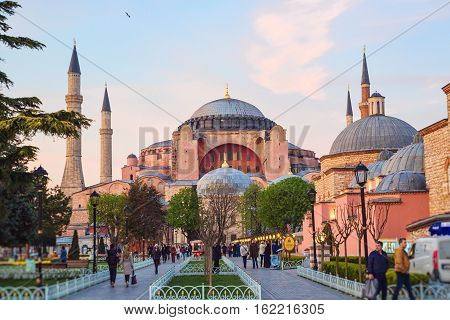 ISTANBUL - APRIL 16 2015: Haghia Sophia - famous church and mosque in Istanbul in the sunset hour