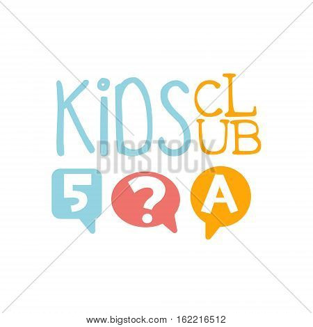 Kids Land Playground And Entertainment Club Colorful Promo Sign With Quiz For The Playing Space For Children. Vector Template Promotional Logo For The Entertaining Family Center.
