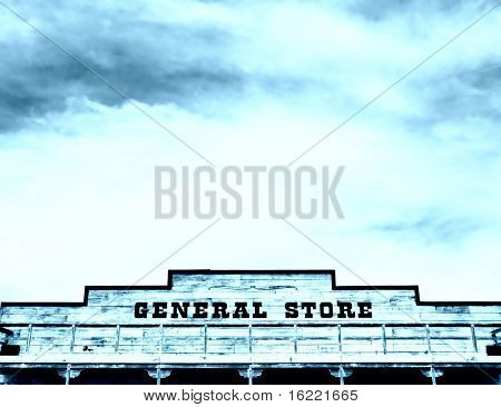 Dramatic sky overlooking an rustic general store