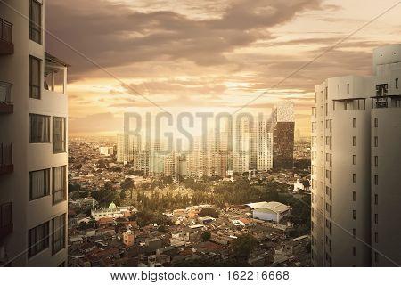 Cityscape With Skyscraper When Sunset