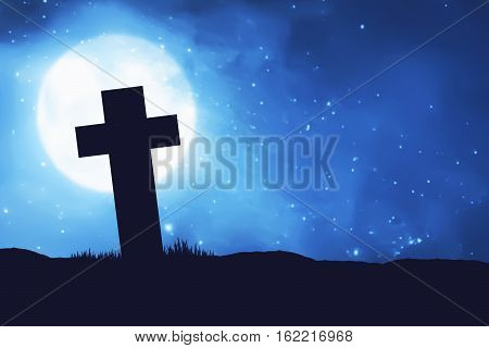 Silhouette Christian Cross Shape On The Field