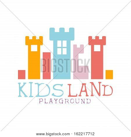 Kids Land Playground And Entertainment Club Colorful Promo Sign With Fairy-Tale Castle For The Playing Space For Children. Vector Template Promotional Logo For The Entertaining Family Center.