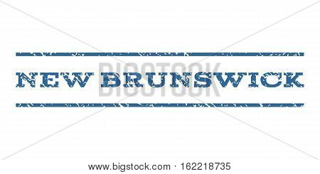 New Brunswick watermark stamp. Text tag between horizontal parallel lines with grunge design style. Rubber seal stamp with dirty texture. Vector cobalt color ink imprint on a white background.