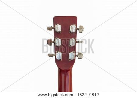 old guitar headstock isolated on white music, background