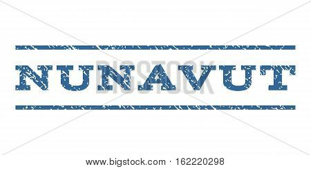 Nunavut watermark stamp. Text tag between horizontal parallel lines with grunge design style. Rubber seal stamp with unclean texture. Vector cobalt color ink imprint on a white background.