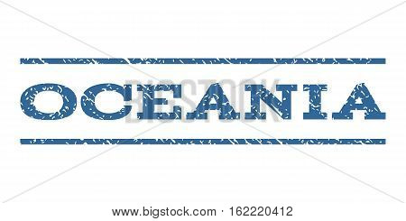 Oceania watermark stamp. Text tag between horizontal parallel lines with grunge design style. Rubber seal stamp with dirty texture. Vector cobalt color ink imprint on a white background.