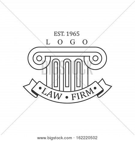 Law Firm And Lawyer Office Black And White Logo Template With Ionic Pillar Justice Symbol Silhouette. Vector Monochrome Emblem For Premium Class Business Service.