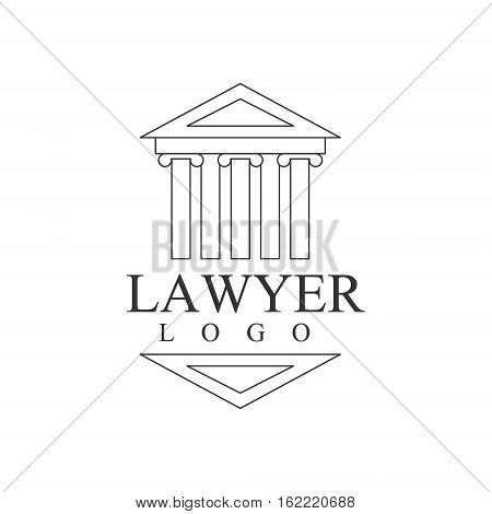 Law Firm And Lawyer Office Black And White Logo Template With Greek Court Building Justice Symbol Silhouette. Vector Monochrome Emblem For Premium Class Business Service.