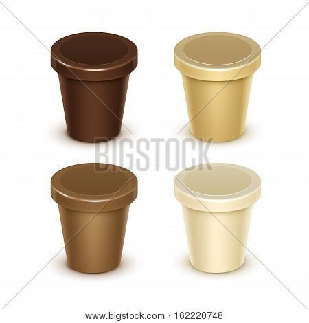 Vector Set of Brown Cream Blank Food Plastic Tub Bucket Container For Vanilla Chocolate Dessert Yogurt Ice Cream Sour Cream with Label for Package Design Mock Up Close up Isolated on White Background.