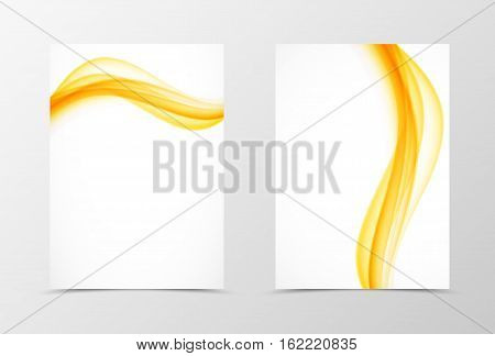 Front and back wave flyer template design. Abstract template with orange lines in soft style. Vector illustration