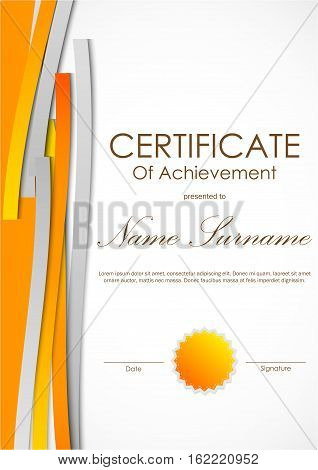 Certificate of achievement template with dynamic orange and gray weaving lines background and seal. Vector illustration