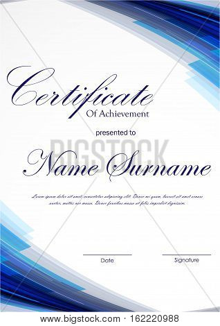 Certificate of achievement template with blue dynamic digital light background. Vector illustration