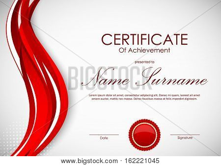 Certificate of achievement template with vivid red dynamic curved wavy background and seal. Vector illustration