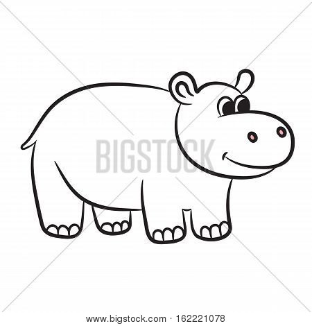 Outlined hippo vector illustration. Isolated on white