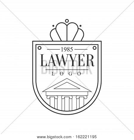 Law Firm And Lawyer Office Black And White Shield Shaped Logo Template With Justice Symbol Silhouette. Vector Monochrome Emblem For Premium Class Business Service.