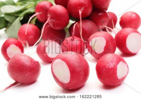 Fresh radish on a white background. Food concept