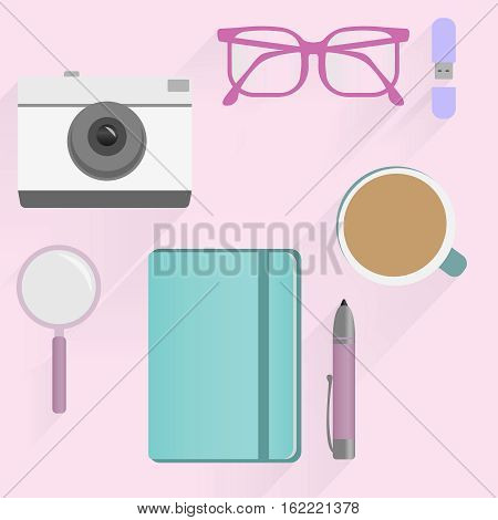 Office desk table with photo camera, glasses, flash drive, pen, notebooks, magnifying glass, and coffee cup flat design. Top view pink background. Eps10 vector template.
