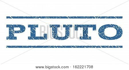 Pluto watermark stamp. Text tag between horizontal parallel lines with grunge design style. Rubber seal stamp with scratched texture. Vector cobalt color ink imprint on a white background.
