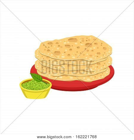 Pile Of Tortilla Bread Traditional Mexican Cuisine Dish Food Item From Cafe Menu Vector Illustration. Part Of Collection Of National Meal From Mexico Vector Cartoon Illustrations.