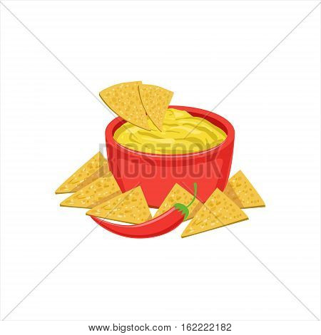 Nachos Chips With Cheese Dip Traditional Mexican Cuisine Dish Food Item From Cafe Menu Vector Illustration. Part Of Collection Of National Meal From Mexico Vector Cartoon Illustrations.
