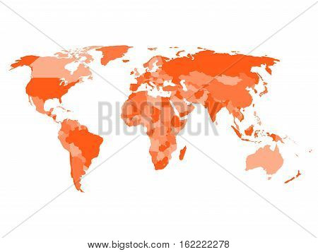 World map with names of sovereign countries and larger dependent territories. Simplified vector map in four shades of orange on white background.