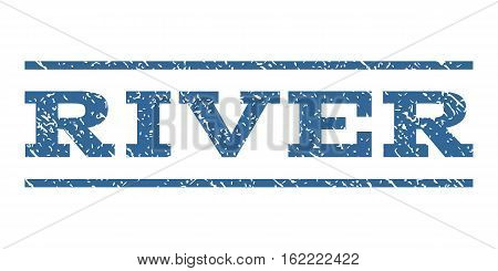 River watermark stamp. Text tag between horizontal parallel lines with grunge design style. Rubber seal stamp with scratched texture. Vector cobalt color ink imprint on a white background.