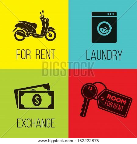 bike for rent, laundry, money exchange and room for rent, vector icons set.