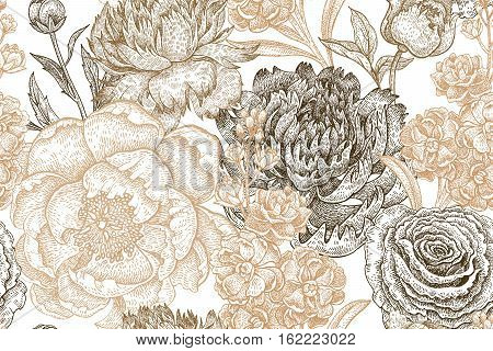 Vintage flowers peonies branches leaves. Print gold foil on a white background. Vector seamless pattern. Illustration for fabrics phone case paper gift packaging textiles interior design cover