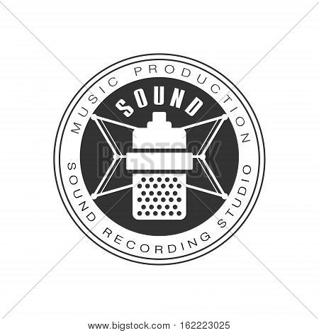 Music Record Studio Black And White Logo Template With Sound Recording Retro Microphone Silhouette. Musical Producing Label Vintage Monochrome Emblem With Text Vector Illustration.