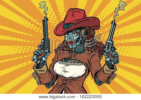 Robot woman gangster steampunk wild West, pop art retro vector illustration. Western style. Science fiction